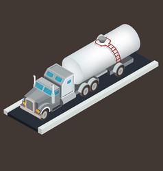 isometric white tanker truck for vector image vector image