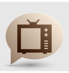 TV sign Brown gradient icon on vector image