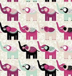 Cheerful seamless pattern elephants and flowers vector image
