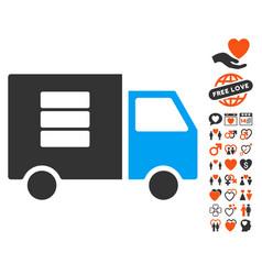 data transfer van icon with dating bonus vector image vector image