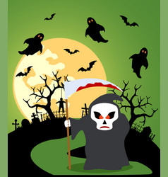 halloween background with scytheman and full moon vector image vector image