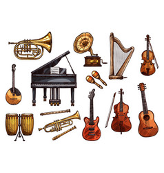 music concert sketch instruments icons vector image vector image