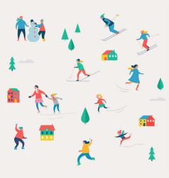 Winter sport scene christmas festival and fair vector