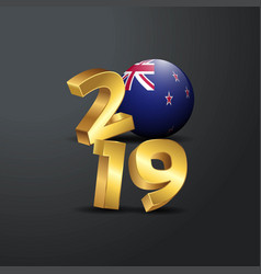 2019 golden typography with new zealand flag vector