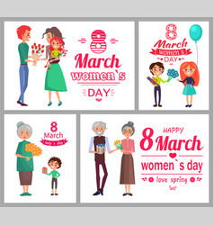 8 march womens day poster set vector image