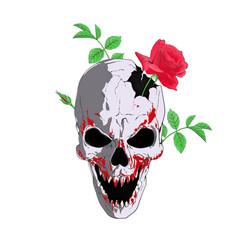 A broken bloody skull with rose vector
