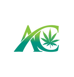 Ac and hemp leaf monogram initial letter logo vector