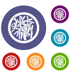asian salad icons set vector image vector image