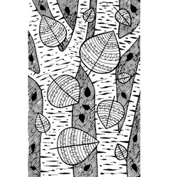 Aspen - tree black and white ink vector