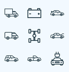 Automobile icons line style set with crossover vector