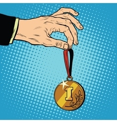 Awarded a medal the first place winner champion vector image