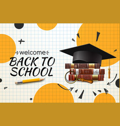 Back to school web banner with graduation hat and vector