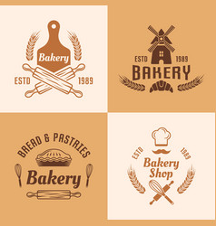 bakery and pastries colored emblems vector image