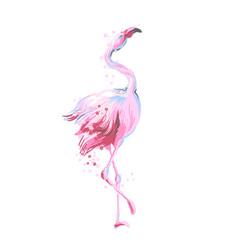Beautiful female dancing pink flamingo smiling vector