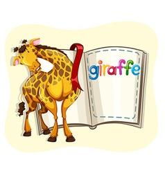 Big giraffe and a book vector