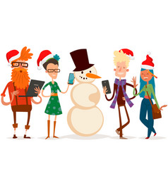 Christmas greeting card business people vector