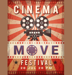 cinema poster vintage design template of video vector image
