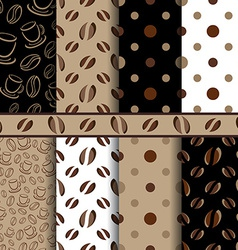Coffee beans seamless pattern - set vector image