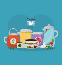 Coffee maker and cup with sugar seeds and flower vector