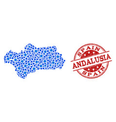 Collage map of andalusia province with linked vector