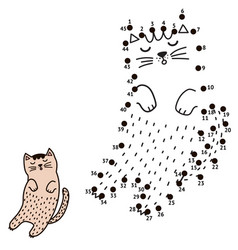 connect the dots and draw a sleeping cat vector image
