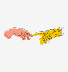 Continuous one line drawing adam and god hands vector