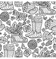 cozy fall autumn doodle vector image