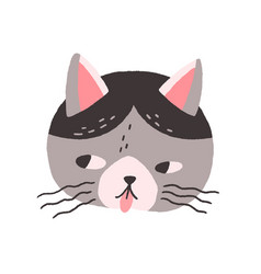 Cute cats face with tongue out head of naughty vector