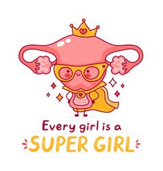 cute happy funny woman uterus organ vector image