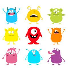 Cute monster icon set happy halloween cartoon vector