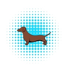 Dachshund icon in comics style vector image