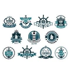 Dark blue nautical labels vector image