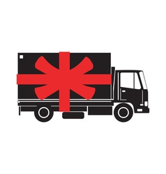 Delivery Truck Side Gift Ribbon vector