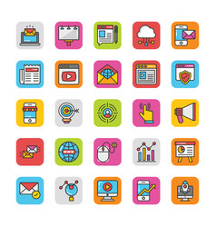 digital and internet marketing icons set 1 vector image