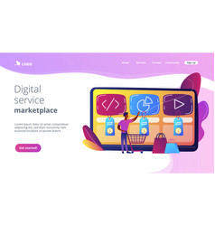Digital service marketplace concept landing page vector