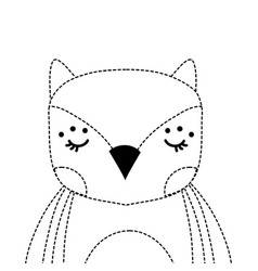 dotted shape adorable owl wild animal of the vector image