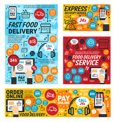Fast food delivery mobile order service vector