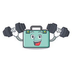 Fitness suitcase character cartoon style vector