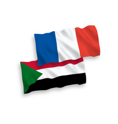 Flags france and sudan on a white background vector