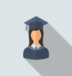 Flat icon of female graduate in graduation hat vector
