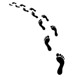 Footsteps turn left vector