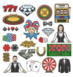 gambling game icons casino roulette chips dice vector image