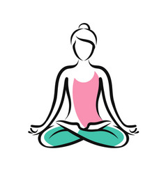 girl sitting in lotus pose yoga fitness logo or vector image