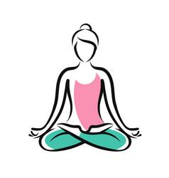Girl sitting in lotus pose yoga fitness logo vector