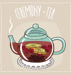 Glass teapot with tea raspberry vector