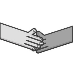 Grayscale humans shaking hands with fingers and vector