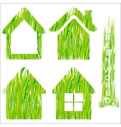 Green grass home icons set 2 vector image