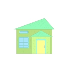 Green small cottage icon cartoon style vector
