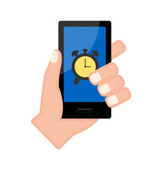 Hand holding a smartphone with an alarm app vector