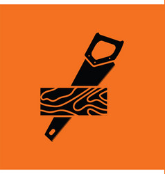 Handsaw cutting a plank icon vector image